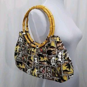 Handbags - Hawaiian tapa pattern quilted purse bamboo handles